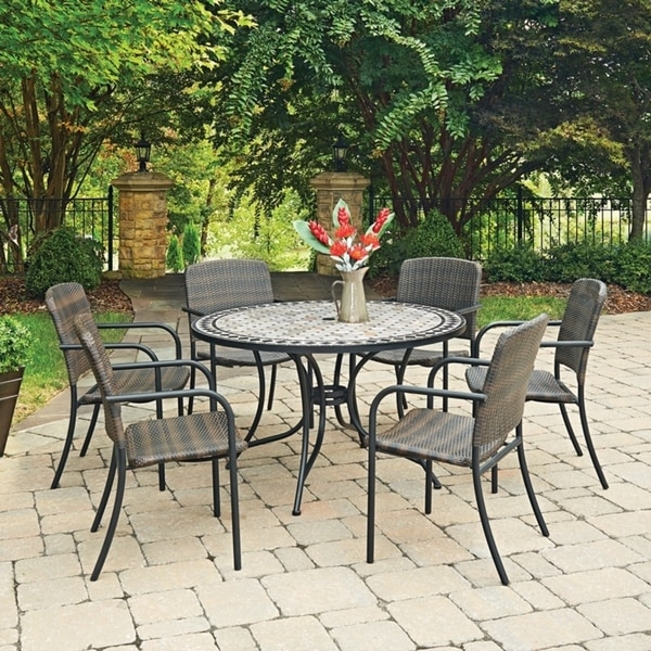 Shop Marble Top 7 Pc Round Outdoor Dining Table Amp 6 Chairs