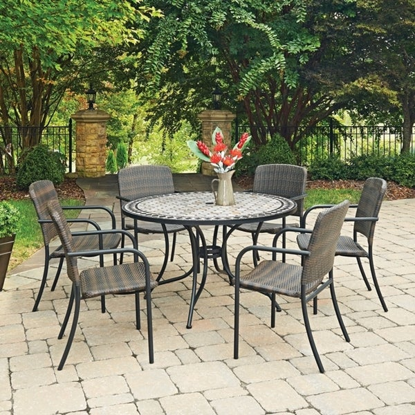 Marble Top 7 Pc Round Outdoor Dining Table 6 Chairs By Home Styles On Free Shipping Today 14308448
