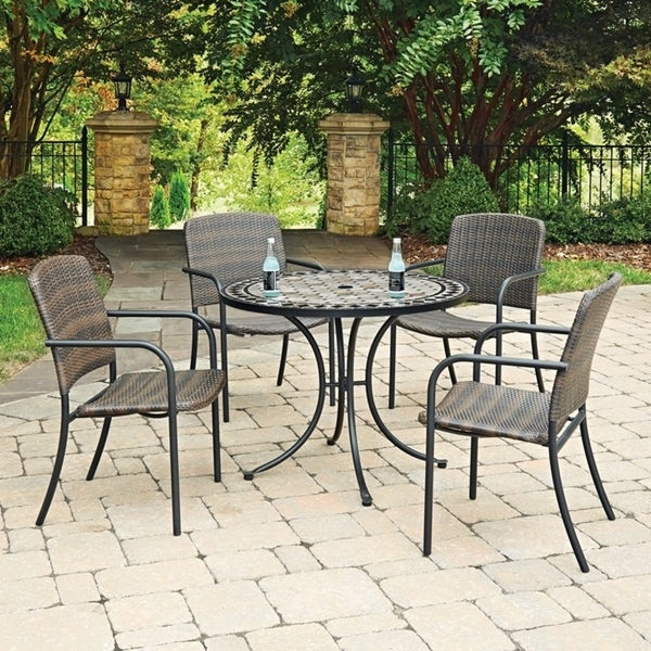 Shop Marble Top 5 Pc Round Outdoor Dining Table & 4 Chairs by Home ...