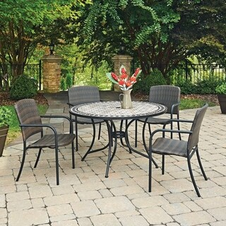 Marble Top 5 Pc Round Outdoor Dining Table & 4 Chairs by Home Styles