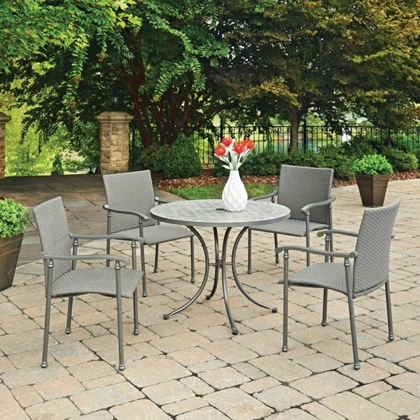Umbria Concrete Tile 5 Pc Round Outdoor Table & 4 Chairs by Home ...