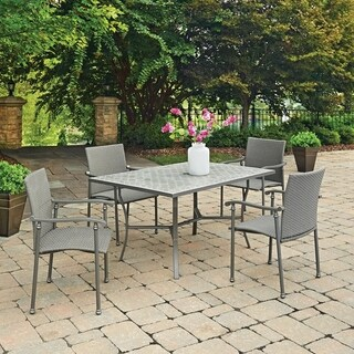 Umbria Concrete Tile 5 Pc Rectangular Outdoor Table & 4 Chairs by Home Styles