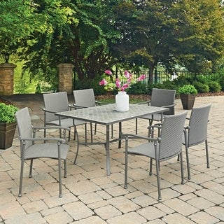 Umbria Concrete Tile 7 Pc Rectangular Outdoor Table & 6 Chairs by Home Styles