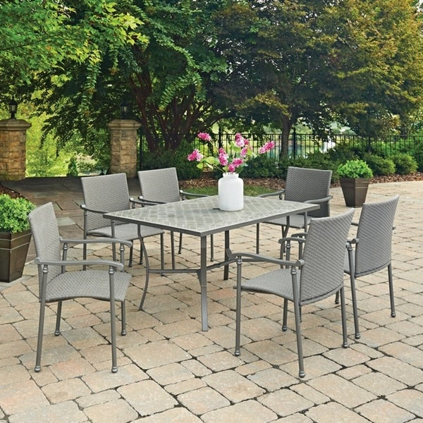 Umbria Concrete Tile 7 Pc Rectangular Outdoor Table 6 Chairs By Home Styles Free Shipping Today 14308467