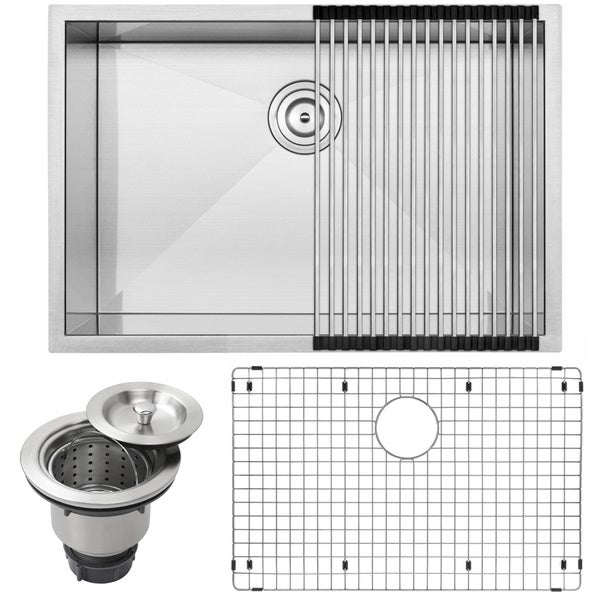 Ticor 28 inch square stainless steel undermount kitchen - Square stainless steel bathroom sink ...