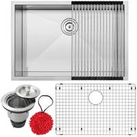 "28"" Ticor S3680 Pacific Series 16-Gauge Stainless Steel Undermount Single Basin Zero Radius Kitchen Sink with Accessories"