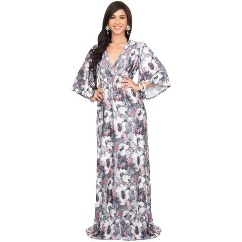 Koh Koh Women's Long Kimono Sleeve Spandex Blend Floral Print Flowy Cocktail Maxi Dress