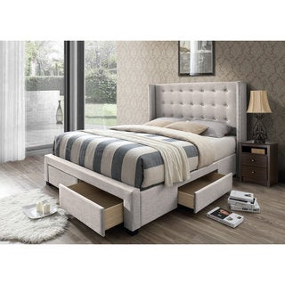 DG Casa Savoy Tufted Beige Linen Queen Wingback Storage Bed