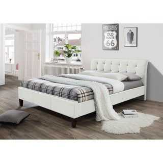DG Casa Hamilton White Faux Leather Queen Platform Bed