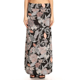 Women's Black Spandex Abstract Tapestry Maxi Skirt