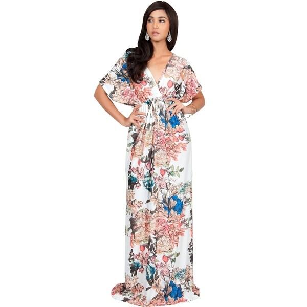 Koh Koh Women's Multicolored Short Kimono Sleeve Floral Summer Maxi Dresses