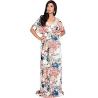KOH KOH Womens Short Kimono Sleeve Floral Summer Printed Maxi Dresses