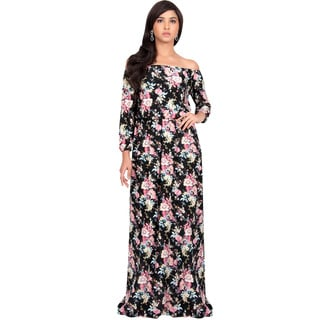 Koh Koh Women's Off-shoulder Sexy Summer Floral-print Maxi Dress