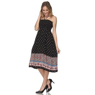 JED Women's Halter Smocked Chest Knee Length Printed Casual Dress