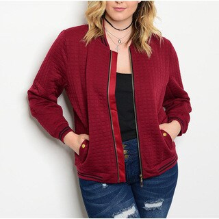 JED Women's Burgundy Plus-size Quilted Zip-up Bomber Jacket