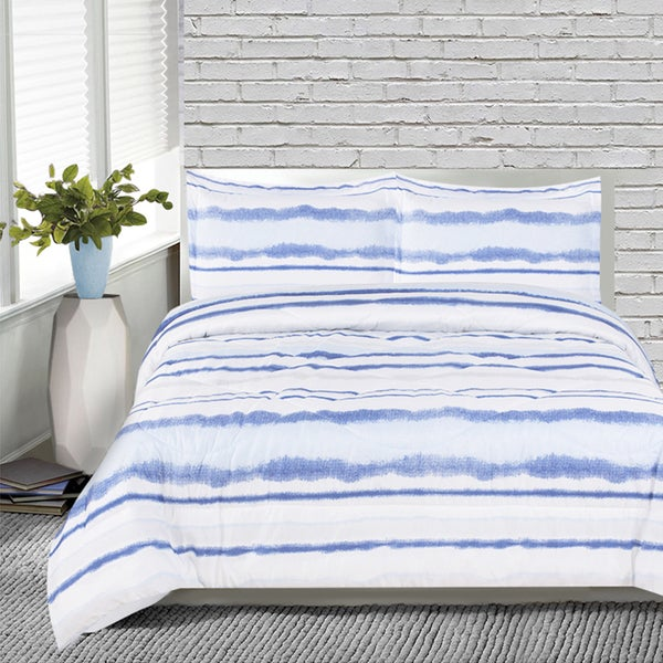 Lauren Taylor Blue and White Ink Microfiber 3-Piece Comforter Set