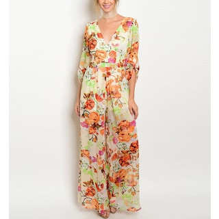 JED Women's Floral-print Chiffon V-neck Palazzo Jumpsuit