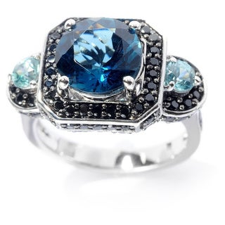 Sterling Silver 5.15ctw Round London Blue Topaz & Multi Gemstone Ring