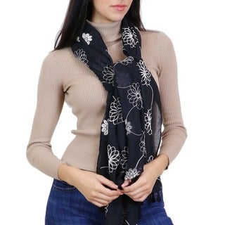LA77 Embroidered Floral Scarf