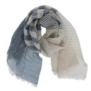 LA77 Women's Blue/Grey Linen-blend Lightweight Patchwork Scarf