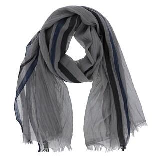 LA77 Striped Border Design Cotton Scarf (Option: Grey)