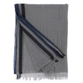 LA77 Striped Border Design Cotton Scarf