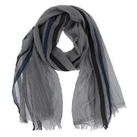 LA77 Striped Border Design Cotton Scarf