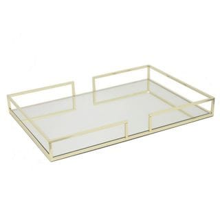 Three Hands Goldtone Metal 17.75-Inch Mirrored Tray