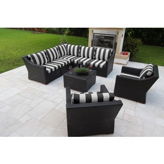Anne 8 Piece Conversation Sectional Seating Set with Sunbrella Fabric