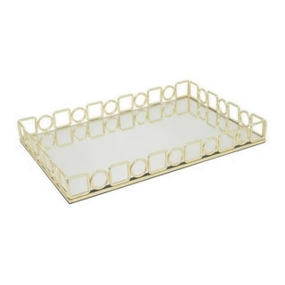 Three Hands Golden Metal 18.25-Inch Mirror Tray