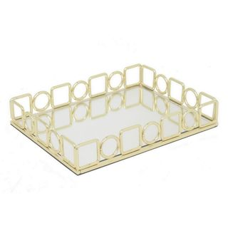 Three Hands Golden Metal 11.5-Inch Tray With Mirror