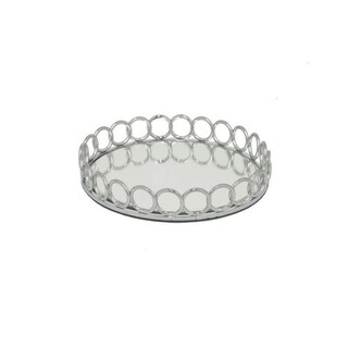 Three Hands Silver Metal 10-Inch Mirror Tray