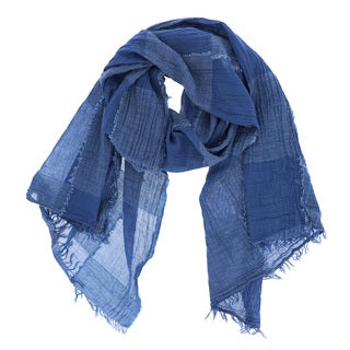 LA77 Blue Cotton-blend Fringed Checkered Scarf