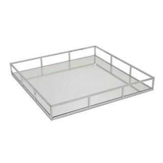 Benzara Silver Metal 15.7-inch Mirror Tray