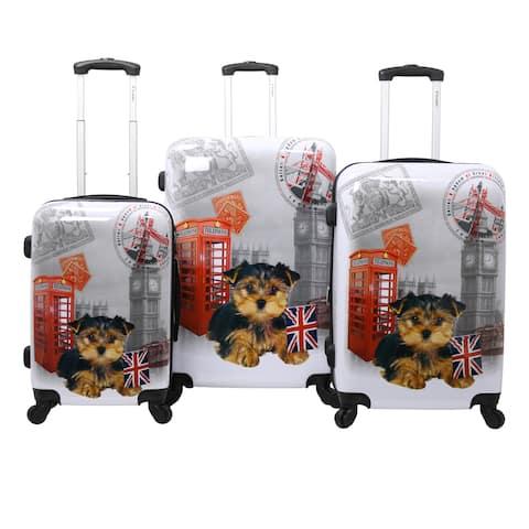 UK Doggie 3-Piece Hardside Lightweight Upright Spinner Luggage Set