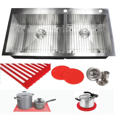 16 Gauge Stainless Steel 43-inch Double Bowl Kitchen Sink with Accessories
