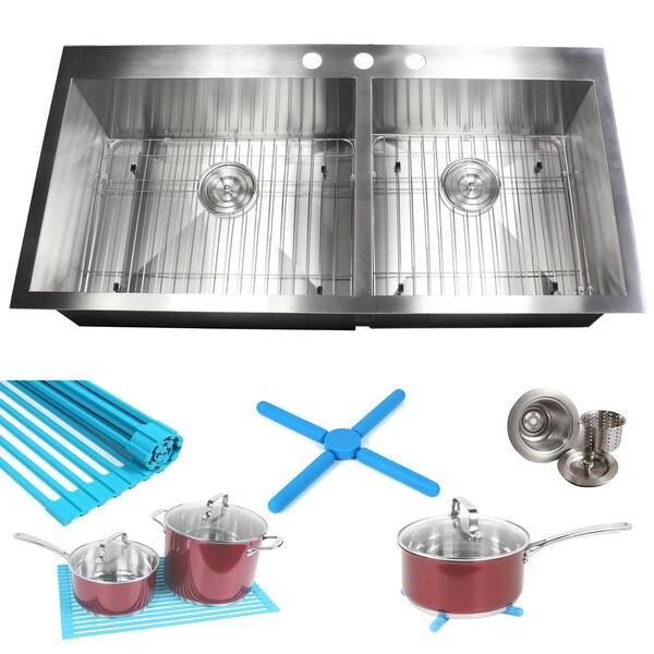 ariel 16 gauge stainless steel 43 inch double bowl kitchen sink with accessories ariel 16 gauge stainless steel 43 inch double bowl kitchen sink      rh   overstock com
