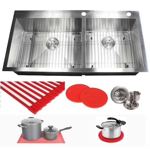 Ariel 16 Gauge Stainless Steel 43-inch Double Bowl Kitchen Sink with Accessories