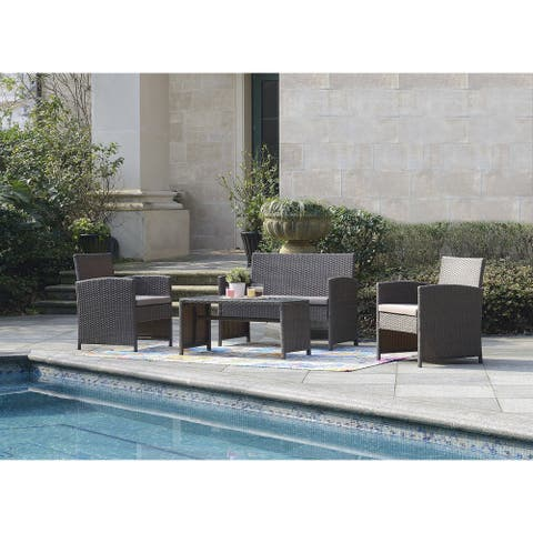 DG Casa Clifton Brown Loveseat, 2 Chairs and Table Set (Set of 4)