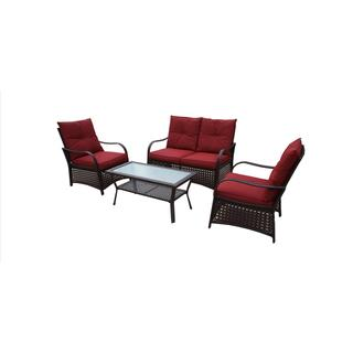 DG Casa Catalina Red Loveseat, 2 Chairs and Table Set
