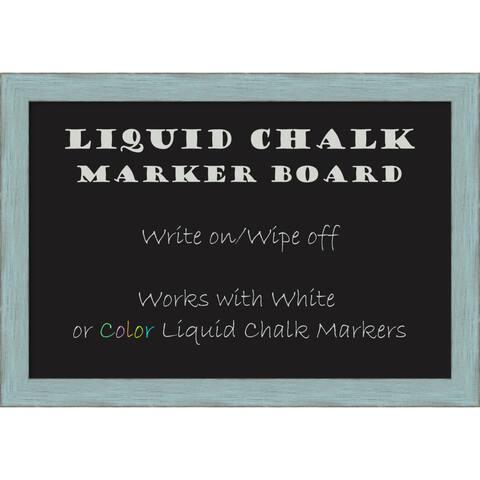 Framed Liquid Chalk Marker Board, Sky Blue Rustic