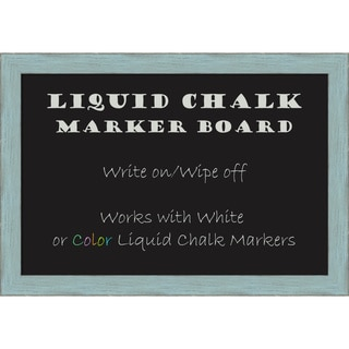 Framed Liquid Chalk Marker Board, Sky Blue Rustic