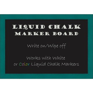 Framed Liquid Chalk Marker Board, French Teal Rustic
