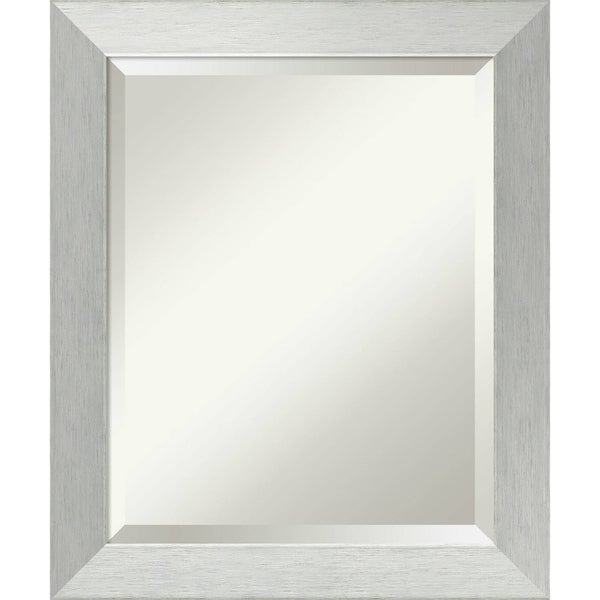 Wall Mirror, Brushed Sterling Silver Wood