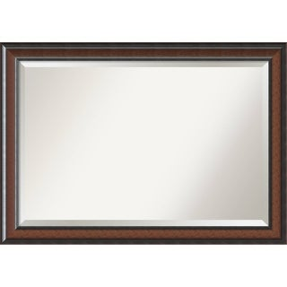 Wall Mirror Extra Large, Cyprus Walnut 41 x 29-inch - Black/Brown - 28.88 x 40.88 x 1.48 inches deep