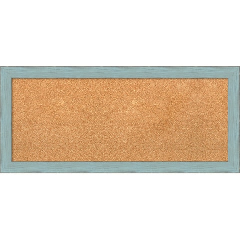 Framed Cork Board, Sky Blue Rustic