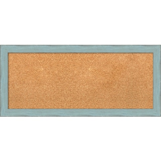 Framed Cork Board, Sky Blue Rustic