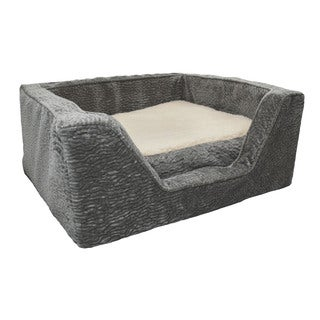 Snoozer Premium Tan/Grey Microsuede Memory Foam Piston Dog Bed