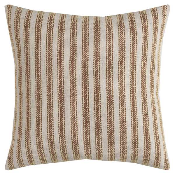 Rizzy Home Ticking Stripe Natural Cotton 20-inch Decorative Filled Throw Pillow