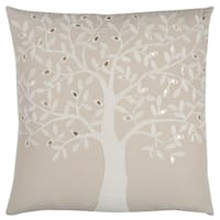 Rizzy Home Tree Beige Cotton 20-inch x 20-inch Decorative Throw Pillow